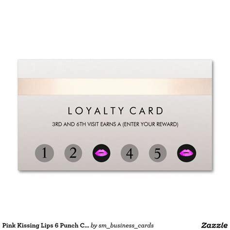 pink kissing lips  punch customer loyalty card loyalty