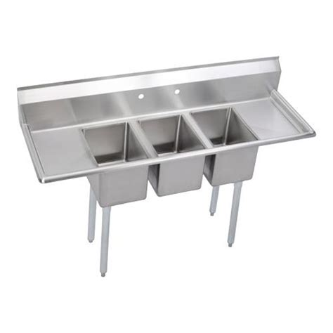 three compartment kitchen sink elkay 3c12x16 2 16x deli 72 in 3 compartment sink 6107