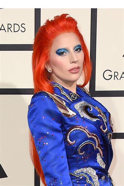 lady gagas grammys hair makeup   bowie inspired
