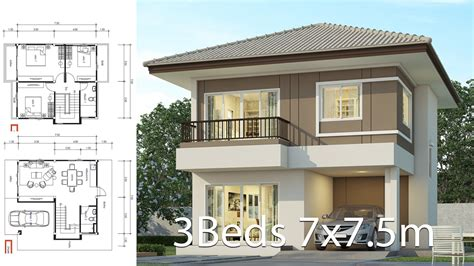House design plan 7x7 5m with 3 bedrooms Home Ideas