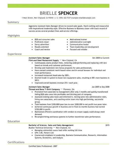 Assistant Manager Cv Exle by Best Sales Assistant Managers Resume Exle Livecareer