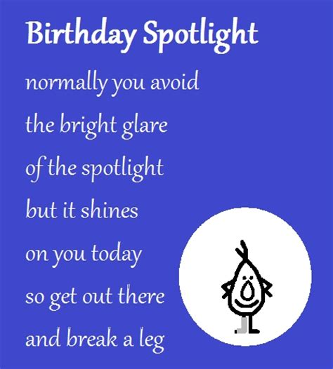birthday spotlight  funny poem  funny birthday wishes ecards