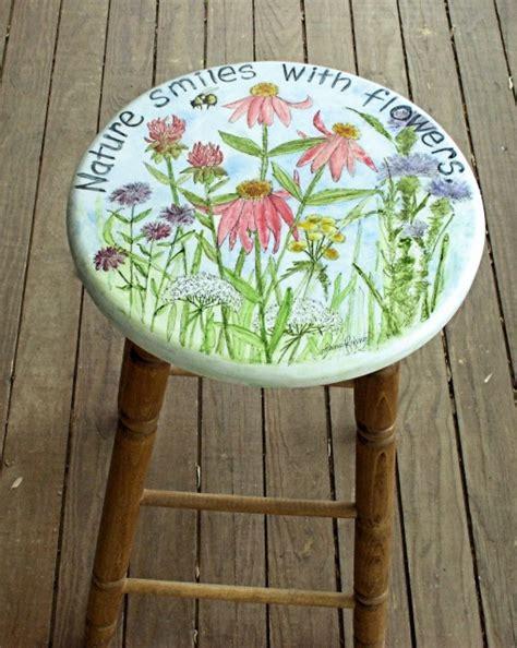 hand painted furniture garden flowers  bar stool