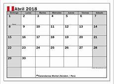 Calendario abril 2018, Perú