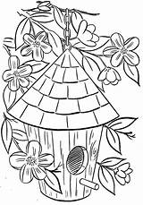 Coloring Birdhouse Popular sketch template
