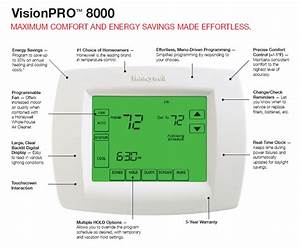 Honeywell Th8110u1003 Visionpro Touch Screen Thermostat
