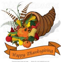 clip illustration of a cornucopia with a happy thanksgiving banner by pams clipart 1200
