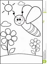Coloring Bee Ape Sky Cartoon Coloritura Het Butterfly Abeille Coloration Colored Een Project Version Jongen Met Children Illustratie Thought Representing sketch template