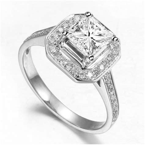 lovely halo wedding ring  carat princess cut diamond