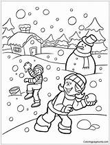 Snow Playing Pages Winter Coloring Printable Coloringpagesonly sketch template