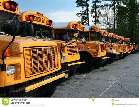 row  school buses stock image image  lights stop