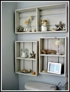 Crate Shelf Ideas for Beach Theme Bathrooms