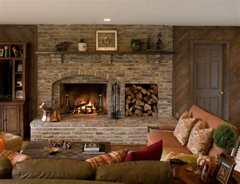 brick fireplace family room traditional  indoor