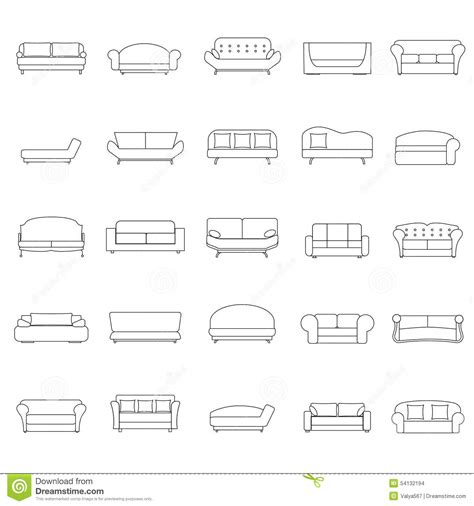 sofa outline vector outline sofa icons set stock vector illustration of home