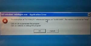 "Windows XP Professional error message ""SAS window ..."