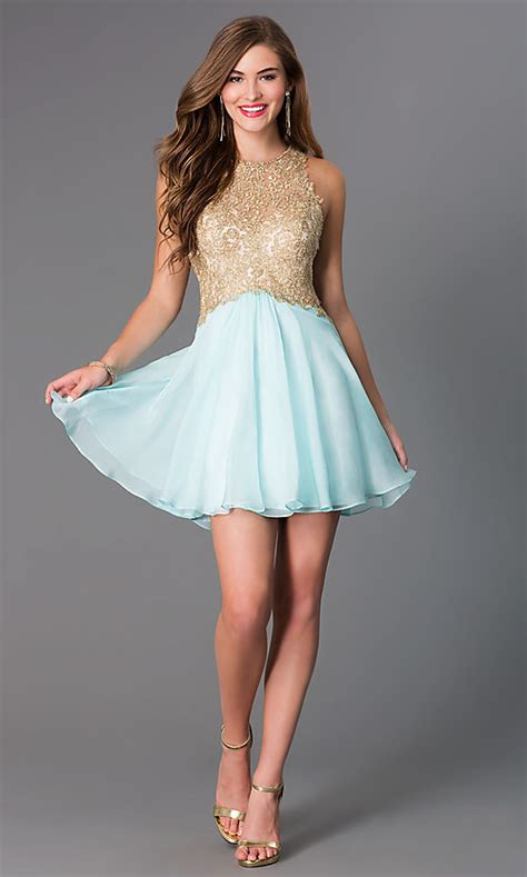 fit  flare lace bodice party dress promgirl