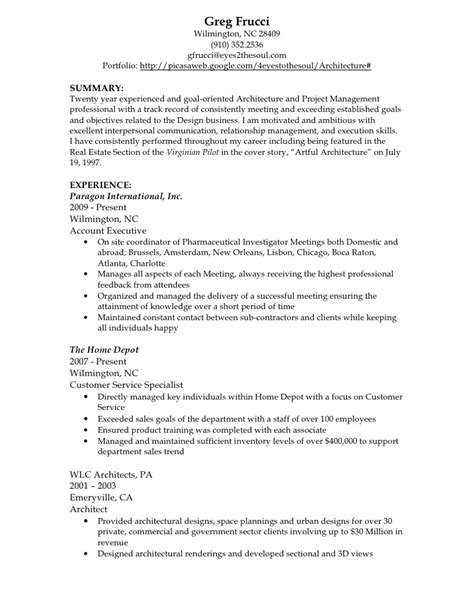 Architect Sle Resumearchitect Sle Resume by Greg Frucci Resume Architect 2010