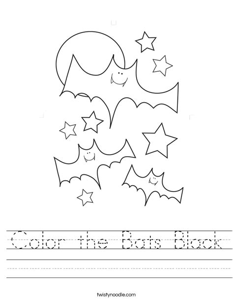 black worksheet color the bats black worksheet twisty noodle