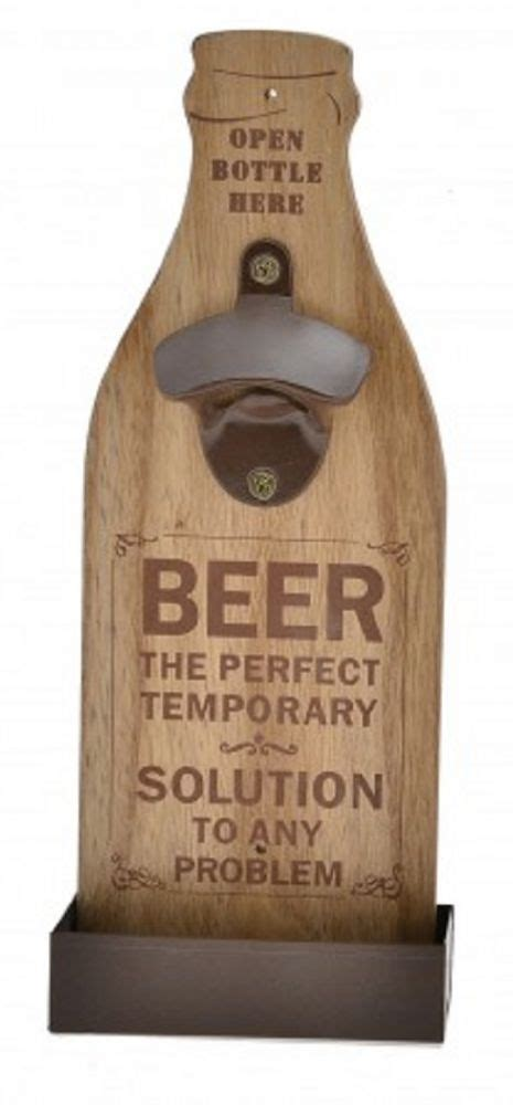 wall mounted wooden bottle opener   sturdy brown
