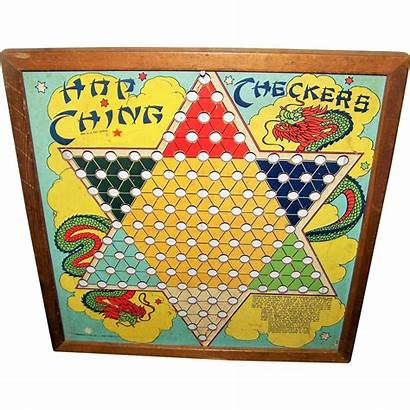 Chinese Hop Ching Checkers Board 1960 Pressman