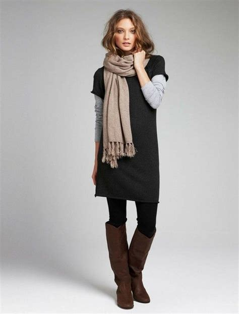 grey cotton dress paired with shiny black sleeved sweater dress a sleeved gray