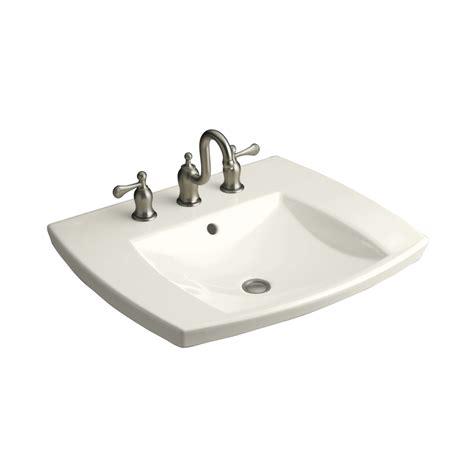 drop in bathroom sink replacement shop kohler kelston biscuit drop in rectangular bathroom