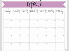 April 2016 Free Calendar Monday Through Sunday Calendar