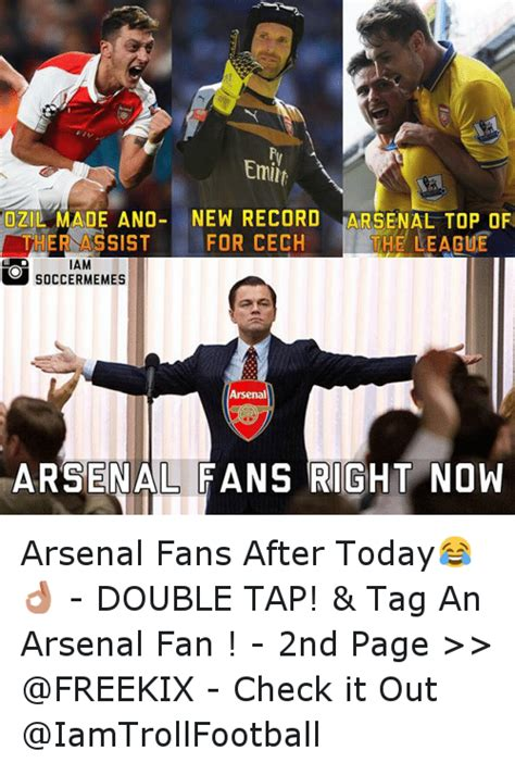 Football Memes Arsenal - emit ozil made ano new record arsenal top of he league ther assist for cech iam soccer memes