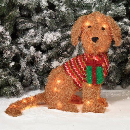 holiday time christmas decor  fluffy doggy sculpture
