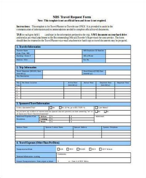 sample travel request forms   ms word excel