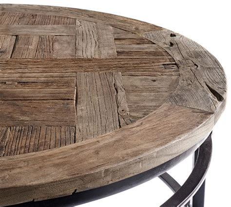 round distressed wood coffee table parquet reclaimed wood round coffee table pottery barn