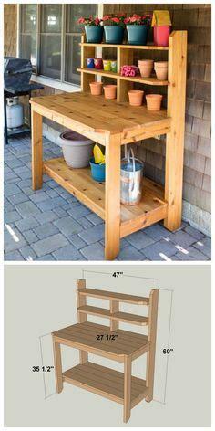 diy built   potting bench  plans