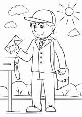 Coloring Mail Carrier Pages Printable Community Helpers Drawing Dot sketch template