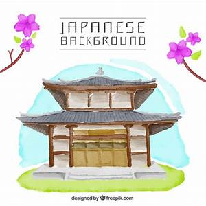 Plan Maison Japonaise : maison japonaise fond d 39 aquarelle t l charger des vecteurs gratuitement ~ Melissatoandfro.com Idées de Décoration