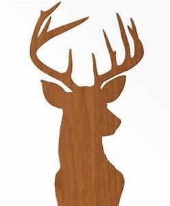 Deer Head Print Silhouette - Faux Wood Grain Faux Bois on ...