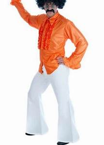 Kids 70s Neon Orange Frilly Disco Shirt