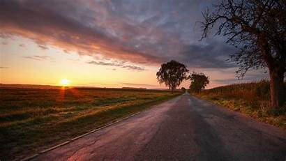 Sunset Field Trees Road Nature Cloudy Sky
