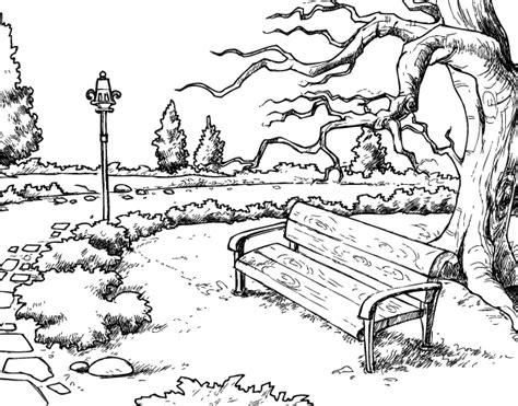 Landscape Park Coloring Page