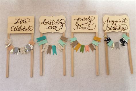 diy bunting banner cake toppers banner cake toppers
