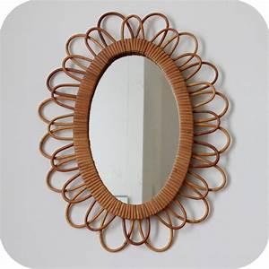 Petit Miroir Rotin : mobilier vintage miroir rotin r tro vintage atelier du petit parc ~ Melissatoandfro.com Idées de Décoration