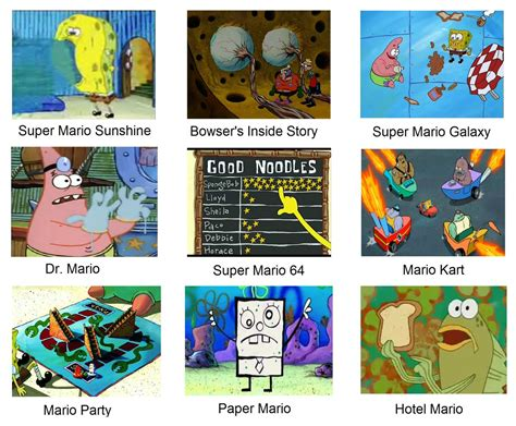 spongebob  mario games spongebob comparison charts