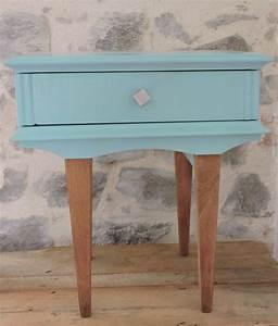Table De Chevet Bleu : chevet bois bleu turquoise pi ce unique mat riaux ~ Preciouscoupons.com Idées de Décoration