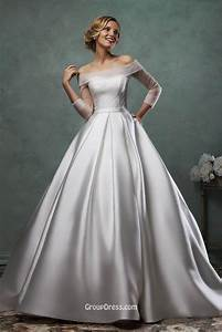 simple ball gown satin wedding dress with quarter sleeves With satin ball gown wedding dresses