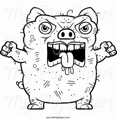 Ugly Pig Angry Clipart Coloring Printable Face