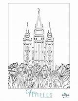 Coloring Temple Lake Salt Lds Mormon Pdf Popular sketch template