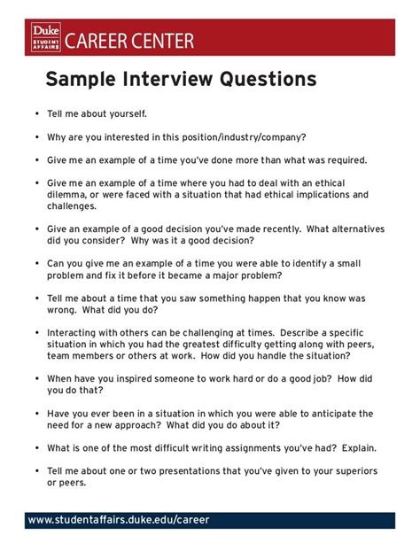 career center sle interview questions tell me about