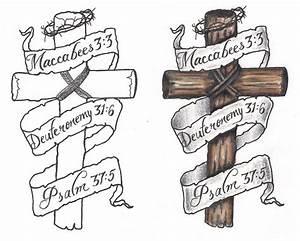 Freebies Cross Banners Tattoo Design by TattooSavage on ...