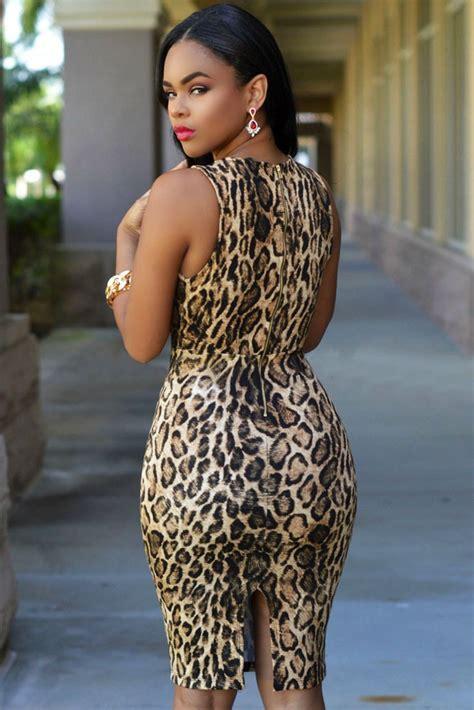 moda sexy vestido animal print escote profundo moda retro