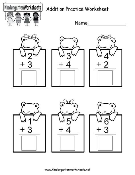 practice adding math worksheet  kindergarten