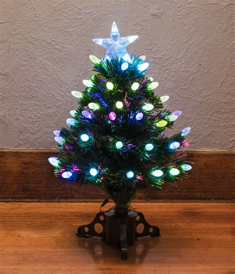 small christmas tree with lights